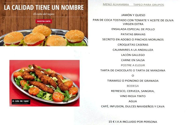Nuevas tapas de El cubo del tapeo, menú para grupos Alhambra, en Mollet del Vallès, Barcelona, tel. 93 016 13 54