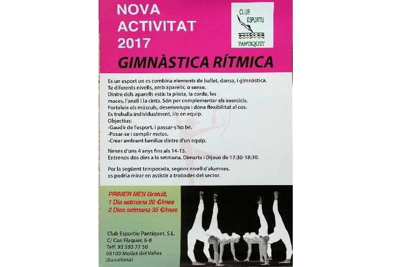 Nueva actividad deportiva a Gimnàs Pantiquet, Mollet del Vallès Gimnasia Rítmica