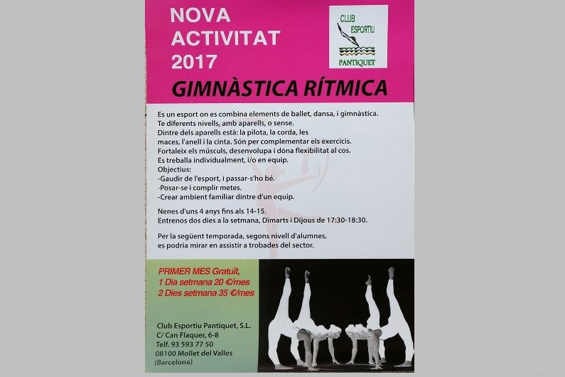Gimnàs Pantiquet, Mollet del Vallès, Gimnàstica Rítmica nova activitat, tel 935937750