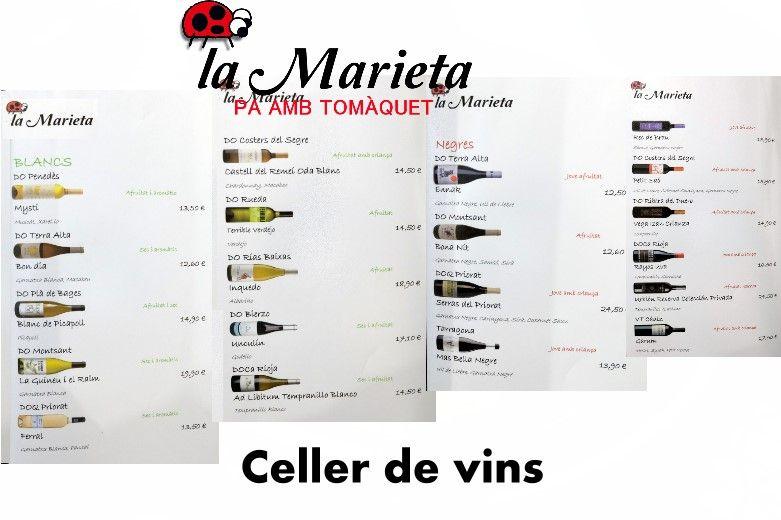 Restaurante La Marieta, nueva carta de vinos, celler de vins, íntimo y familiar, aniversarios,cenas románticas, cenas de empresa y celebraciones en Mollet del Vallès, Barcelona