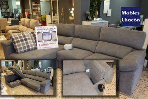 Mobles Chacon Mollet del Valles,Barcelona, sofá reclinable, arcón, posavasos, toma eléctrica,especialistas en ropa de casa